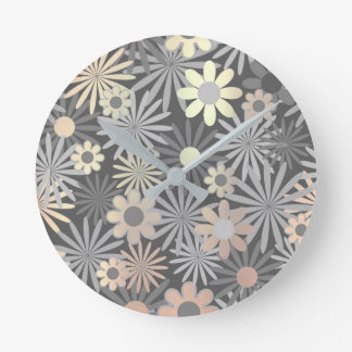 Floral Meadow Margarita Gray Graphite Ivory Brown Round Clock