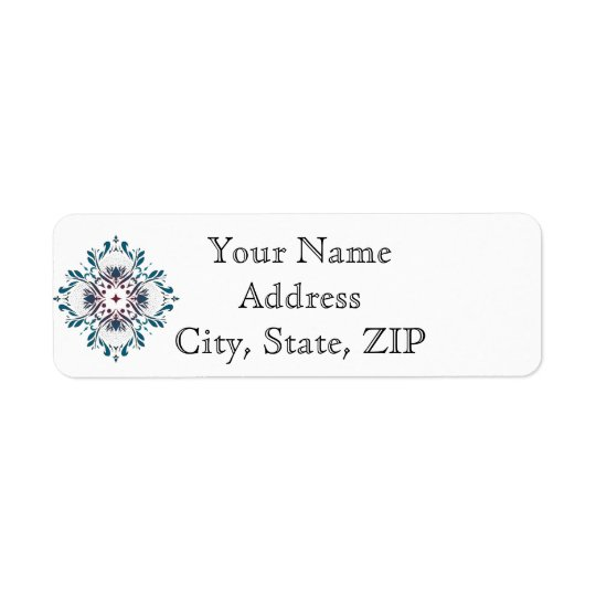 Floral Medallion Teal Anniversary Return Address