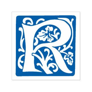 Floral Medieval Letter R Monogram Self-inking Stamp