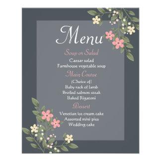 Floral Menu Gray & Pink Flowers Grey Wedding Party