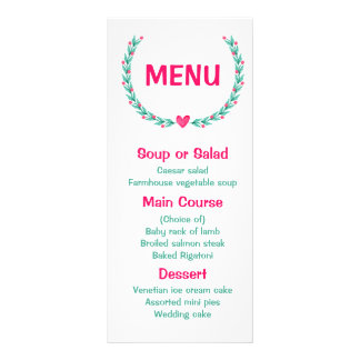 Floral Menu Watercolor Pink & Turquoise Wreath