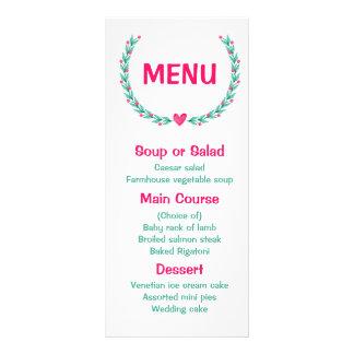 Floral Menu Watercolor Pink & Turquoise Wreath Rack Card Design