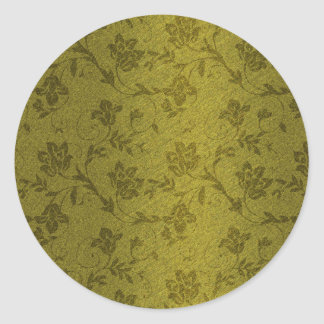 Floral Metal gold Classic Round Sticker