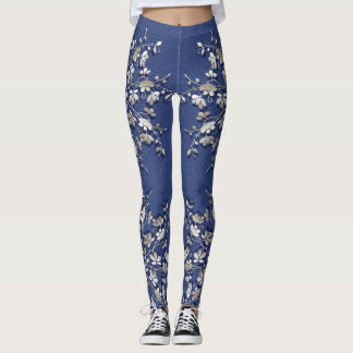 floral metallic element on grunge background. leggings