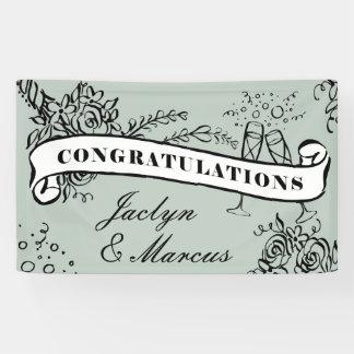 Floral Milestone Champagne Congratulations Banner