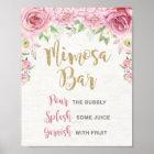 Floral Mimosa Bar Sign Pink Gold Flower Wedding