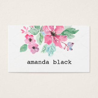 Floral Minimalist Watercolor Business Card