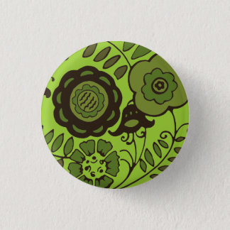 Floral Mint 1 Inch Round Button