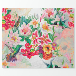 Floral Mint Garden Peach Pastel Pink Silver Bird Wrapping Paper