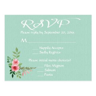 Floral Mint Green RSVP Pink Rose Flowers Wedding Postcard