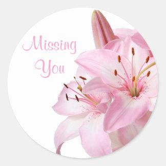 Floral Missing You Pink Lily Flower Sticker Label