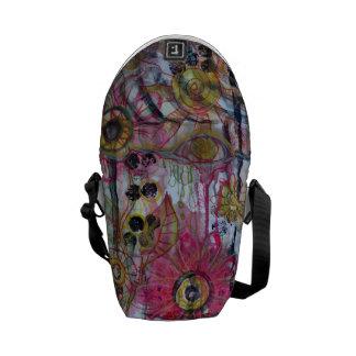 floral mixed media messenger bag