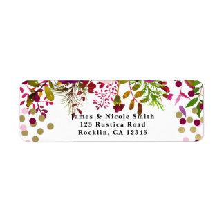 Floral Modern Gold Burgundy Bold Bridal Shower Return Address Label
