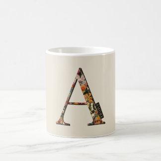 Floral monogram A, label text AMORE, mug