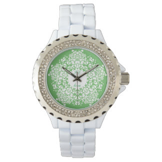 FLORAL   monogram and vintage pattern Wrist Watch