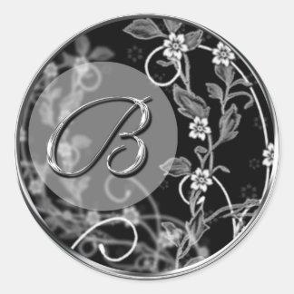 Floral Monogram B Wedding Envelope Seal Sticker