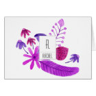 Floral Monogram Blank Note Card Purple Flowers