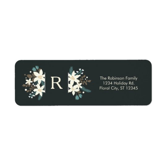 Floral Monogram Christmas Address Label