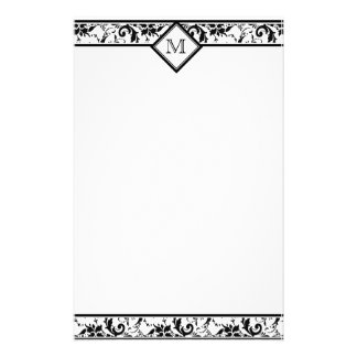Floral Monogram Damask Stationery