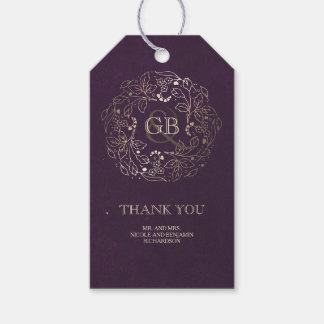 Floral Monogram Gold and Plum Vintage Wedding Pack Of Gift Tags