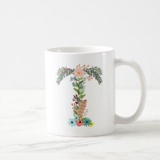 Floral Monogram Initial Coffee Cup Letter T