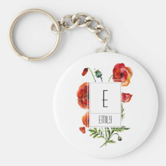 Floral Monogram Initial Keychain Red Poppy Flowers