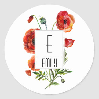 Floral Monogram Initial Stickers Red Poppy Flowers