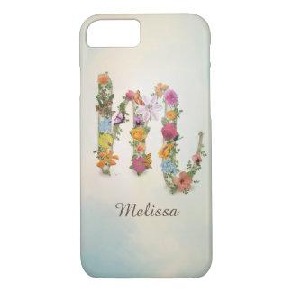 Floral Monogram M, custom name, letter M Case-Mate iPhone Case