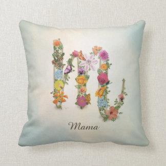 Floral Monogram M, custom name, letter M Throw Pillow