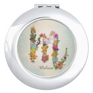 Floral Monogram M, flowers, letter M, custom Compact Mirror