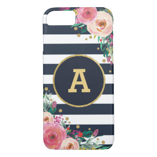 Floral Monogram Navy Gold Stripes iPhone 7 Case
