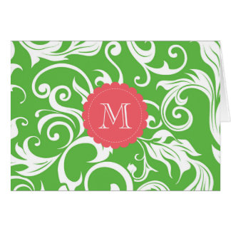 Floral Monogram Note Card Watermelon Green Pink