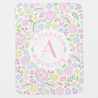 Floral Monogram Pastel Baby Girl Baby Blanket