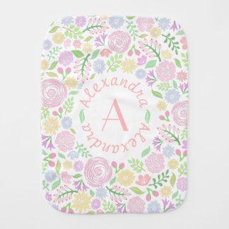 Floral Monogram Pastel Baby Girl Burp Cloth