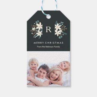 Floral Monogram Photo Merry Christmas Gift Tag