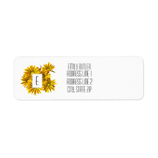 Floral Monogram Return Address Label Gazanias