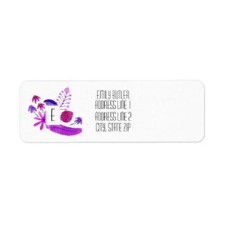 Floral Monogram Return Address Label Purple Flower