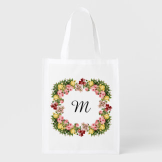 Floral Monogram Reusable Grocery Bag