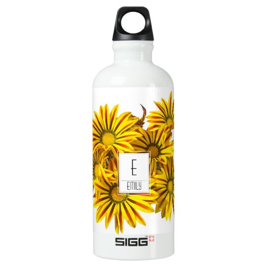 Floral Monogram Water Bottle Gazania Flowers