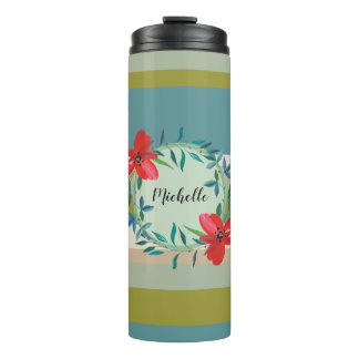 Floral Monogram with Green Teal Stripes Thermal Tumbler