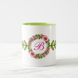 Floral Monogrammed Design Two-Tone Coffee Mug