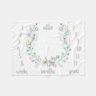 Floral Monthly Photo Baby Blanket