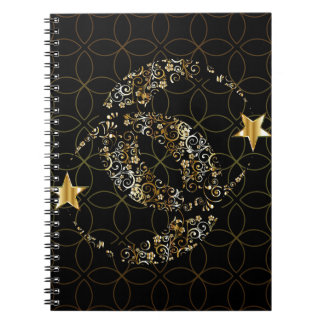 Floral Moon and Star Notebook