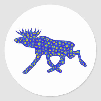 Floral Moose Round Sticker