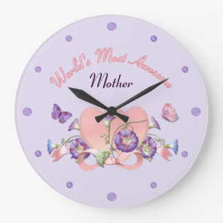 Floral Morning Glory Mothers Day Large Clock