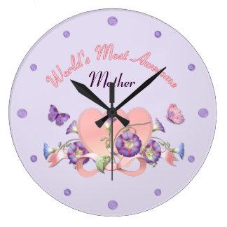 Floral Morning Glory Mothers Day Wallclocks