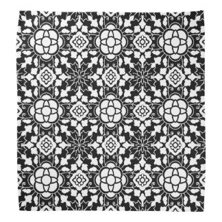 Floral Moroccan Tile, Black and White Bandana