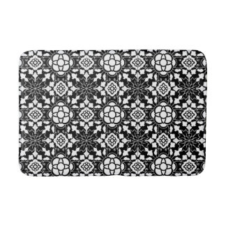 Floral Moroccan Tile, Black and White Bath Mat