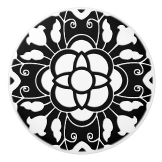 Floral Moroccan Tile, Black and White Ceramic Knob