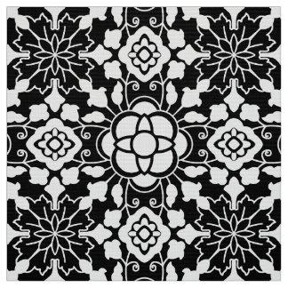 Floral Moroccan Tile, Black and White Fabric